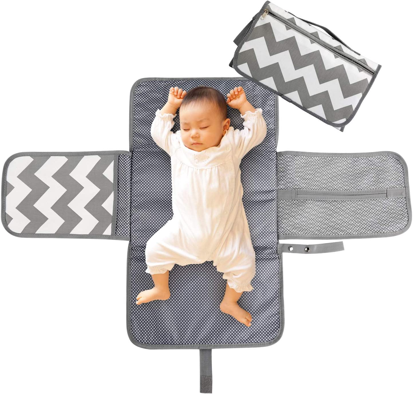 LEADSTAR Portable Nappy Changing Mat, Diaper Changing Pad with Head Cushion Pockets, Waterproof Foldable Infant Baby Changing Pad Kit for Home Travel Outside