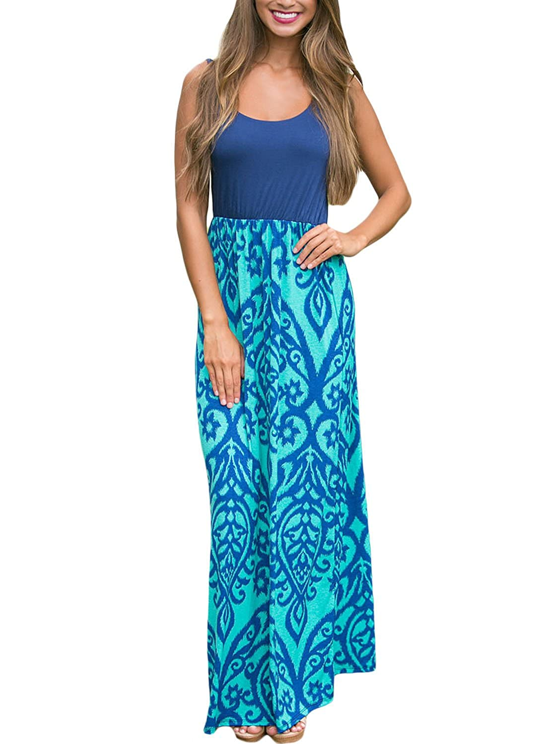 Happy Sailed Women Boho Sleeveless Printed High Waist Casual Maxi Dress HS61477