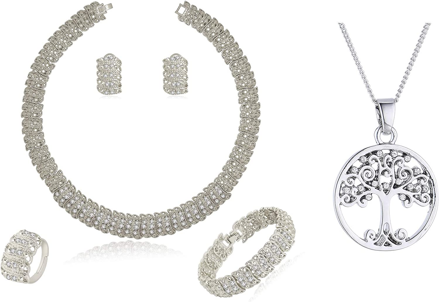 Silver Plated wide chain crystal jewelry set and Swarovski crystal family tree necklace