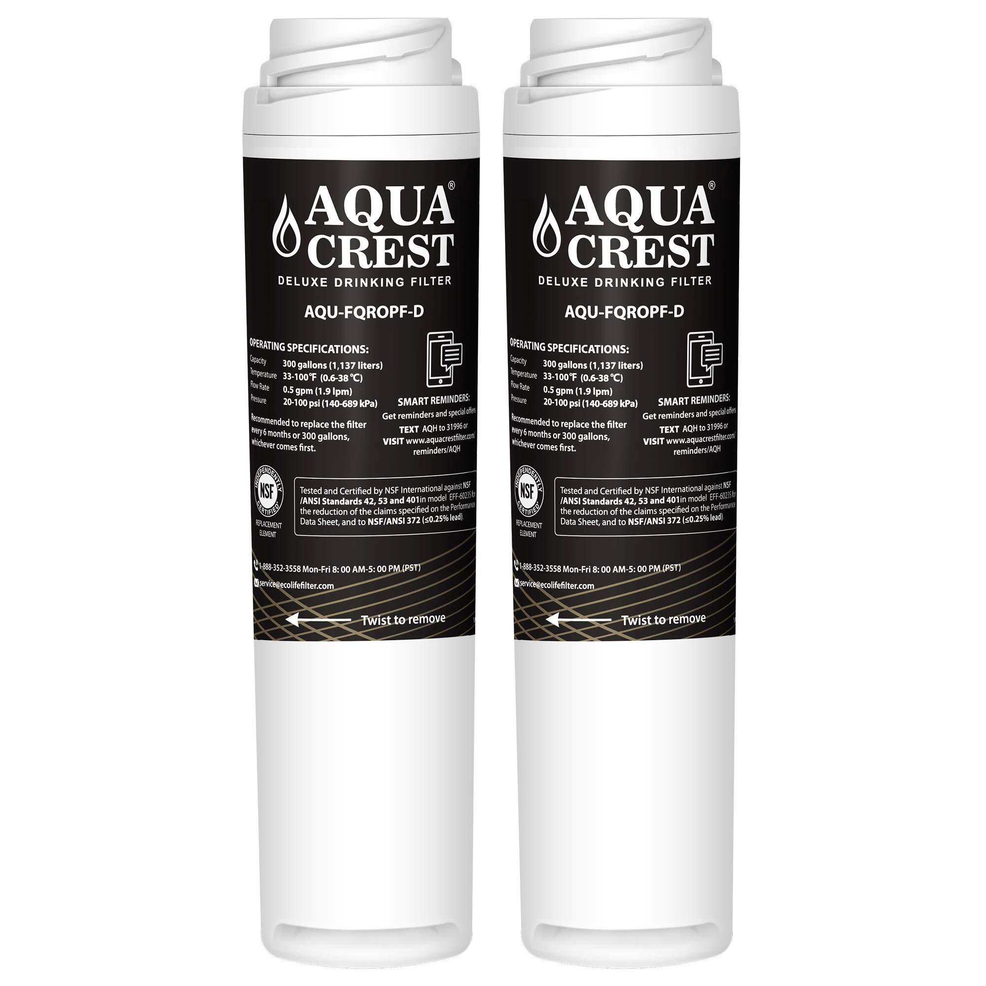 AQUACREST FQROPF NSF 401,53&42 Replacement Under Sink Water Filter, Compatible with GE FQROPF Reverse Osmosis Water Filter (1 Set)