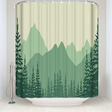 Prime Leader Fabric Shower Curtain High Mountain Abstract Pine Tree Green Mildew Resistant Polyester Fabric Bathroom Set with Hooks,36 x78