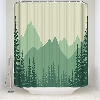 Prime Leader Fabric Shower Curtain High Mountain Abstract Pine Tree Green Mildew Resistant Polyester Bathroom