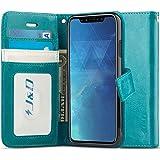 Custodia iPhone X, J&D [RFID Blocco Portafoglio] [Sottile Adatta] Protettiva Robusta Antiurta Flip Custodia per Apple iPhone X - Turchese
