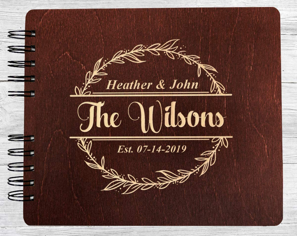Couples Custom Wreathe (11x8.5 or 8.5'' x7) Guest Book Wedding Mr Mrs Decor Im Getting Married Rustic Photo Album Gift by Weddings-by-StockingFactory (Image #2)
