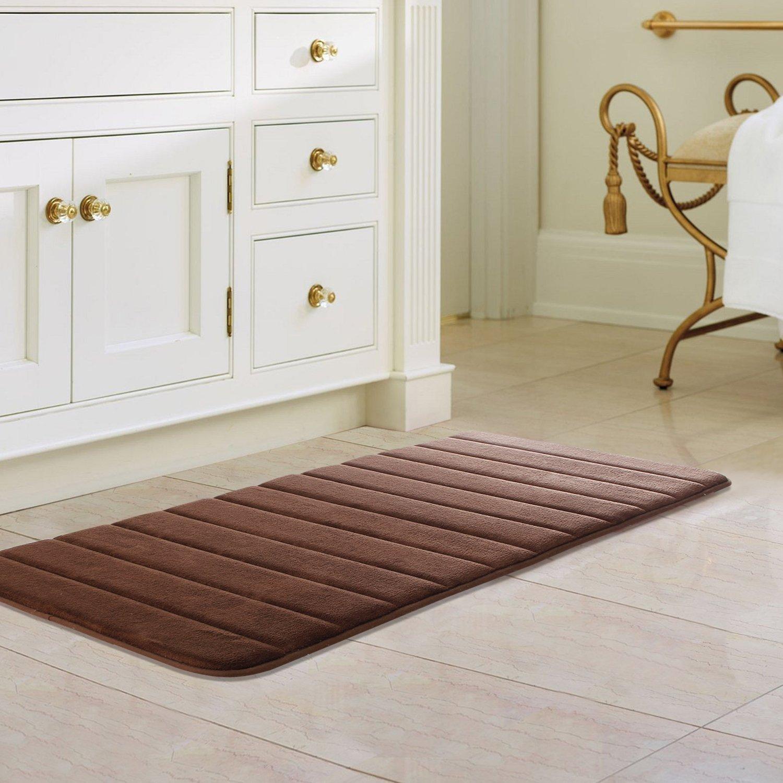 Drhob 47' x 24' Long Memory Foam Bath Mat Absorbent Carpet Runner Extra Soft Machine-Washable Bathroom Rug Kitchen Floor Bathmat with Non-Slip Backing (Brown)