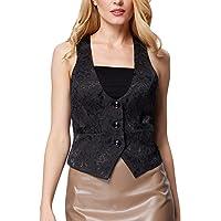 Grace Karin Womens Jacquard Waistcoats Vest Button Front for Work (S Black 677)