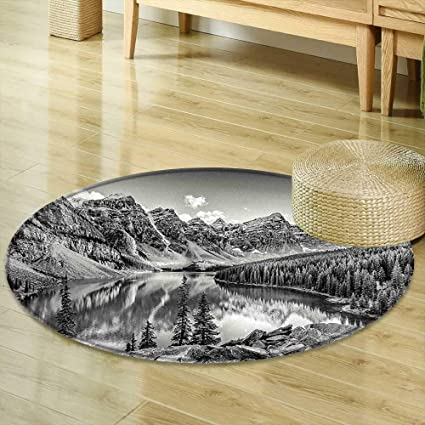 Amazon Com Mikihome Round Area Rug Carpet Black And White Decor