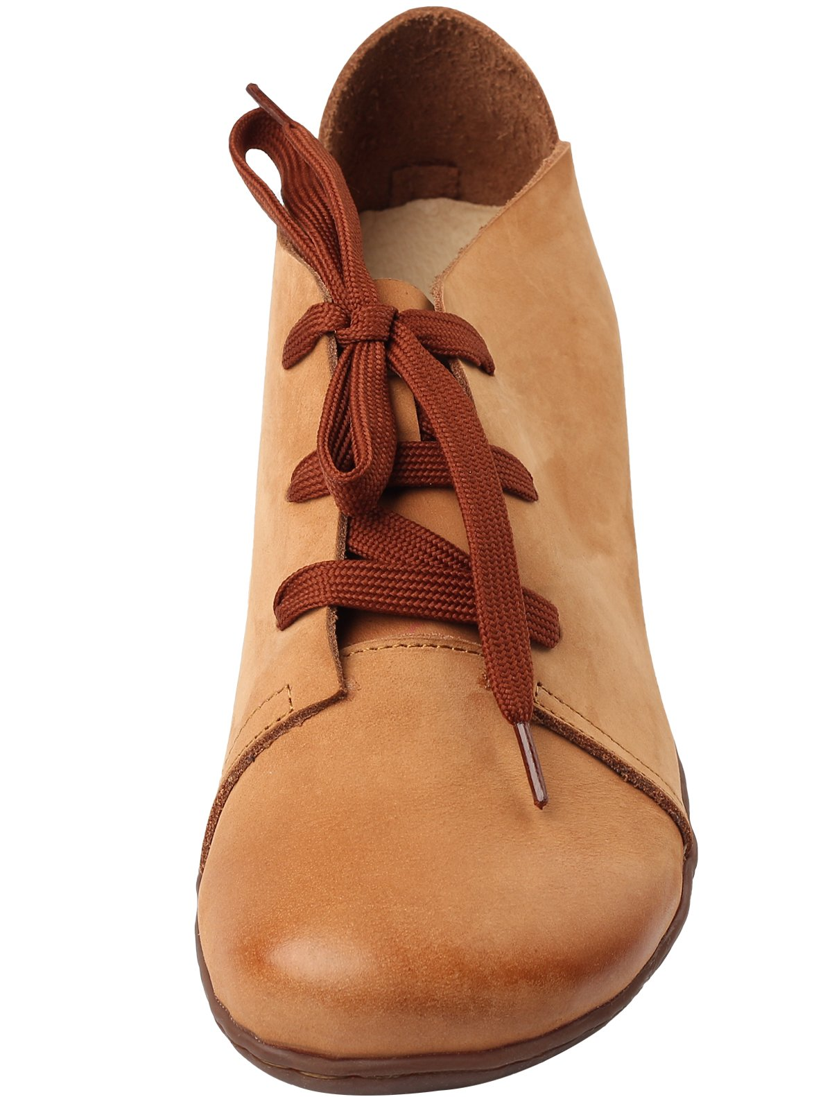 Mordenmiss Women's New Leather Lace Up Flat Shoes (US 10//CH 42, Brown)