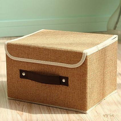 Zoomlie - Cajas de almacenaje con Tapa, contenedor de Tela, para Libros, Juguetes, DVD, Arte y Manualidades, 2 ...