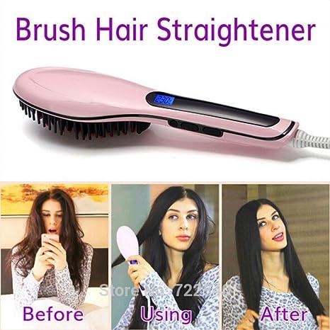 chengyida pantalla LCD profesional cepillo alisador de cabello peine plancha eléctrico alisador antiencrespamiento cepillo de pelo