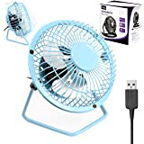 "Usb Fan Retro Mini Aluminium By G-Hub - 360 Rotation Desk Fan Powered by USB Socket of a Laptop or PC or any USB Mains Adapter - Compact Usb Fan Mini 4"" (4inch) – BLUE"