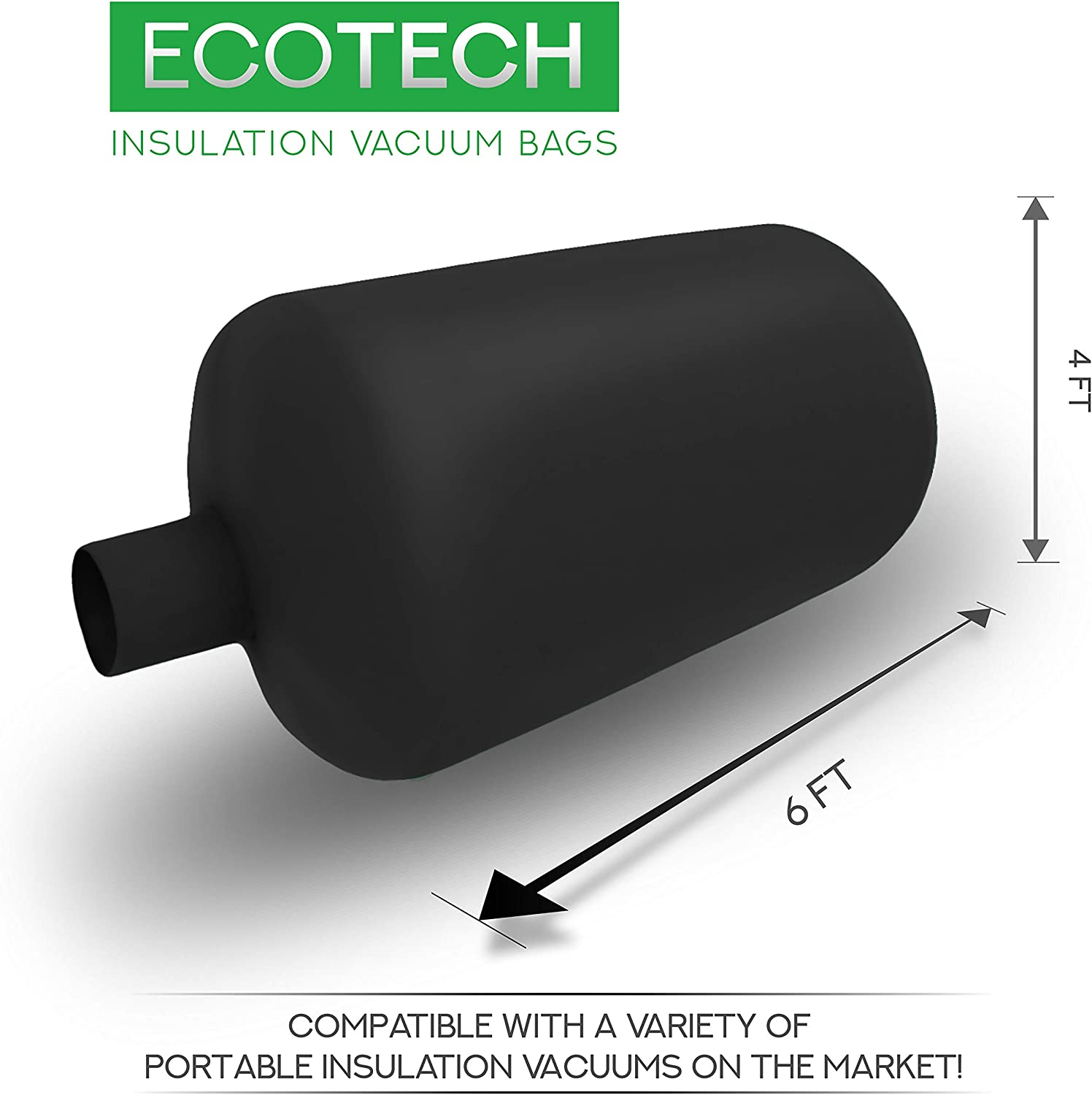 1 Pack, Black Available in Green and Black Ecotech Insulation Vacuum Bags