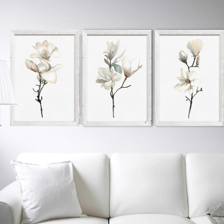 Magnolia Art Print nature print black and white print magnolia in bloom linocut print magnolia wall art botanical print