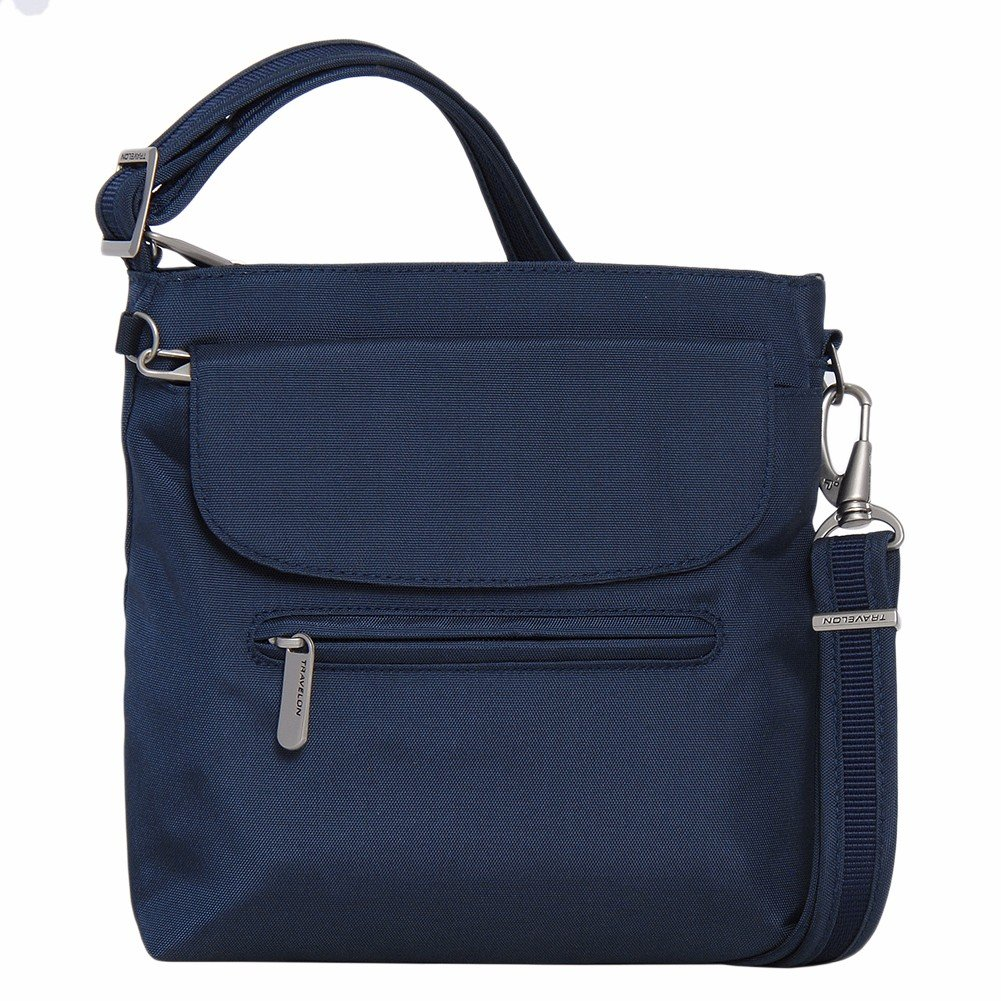 Travelon Anti-Theft Classic Mini Shoulder Bag (One Size, Midnight w/Teal Lining)