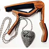 WINGO Quick Change Wooden Guitar Capo for Acoustic Guitar, Electric Guitar,Bass,Ukulele- Rosewood with Unique Metal Pick…
