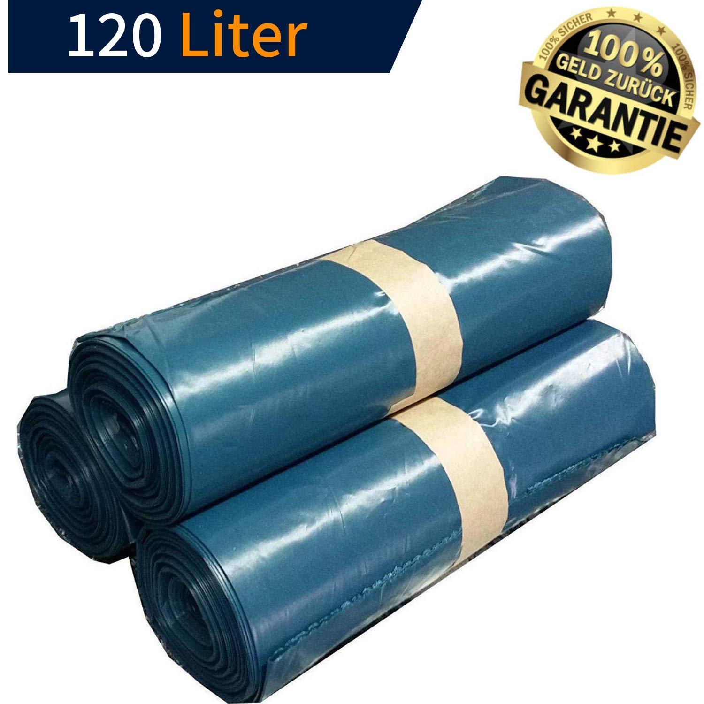 KLINOO Extra Starke Müllbeutel 120 L - Reißfeste Müllsäcke XXL - 25 STÜCK je Rolle - Stabile Mülltüten blau für Haushalt, Baustelle und Gastronomie - Bauschuttsack, Schwerlastsack, Abfallsack (6 Rollen)