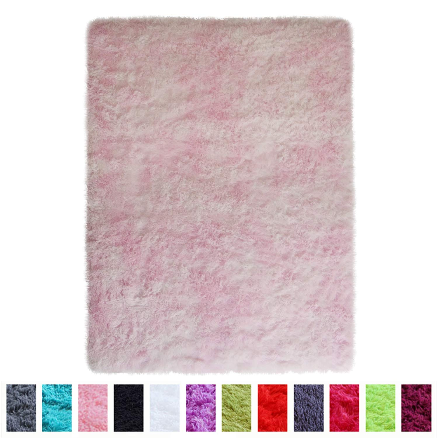 PAGISOFE Shaggy Colored Fluffy Area Rugs Carpets for Baby Nursery Teens Girls Rooms 4x5.3 Feet Plush Fuzzy Patterned Shag Rugs for Kids Bedrooms Home Room Floor Accent Decor Fur Rug (Pink and White)