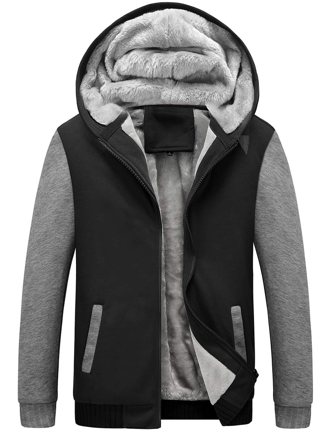 Yeokou Men's Winter Thicken Fleece Sherpa Lined Zipper Hoodie Sweatshirt Jacket (Large, Z Black Grey001) by Yeokou