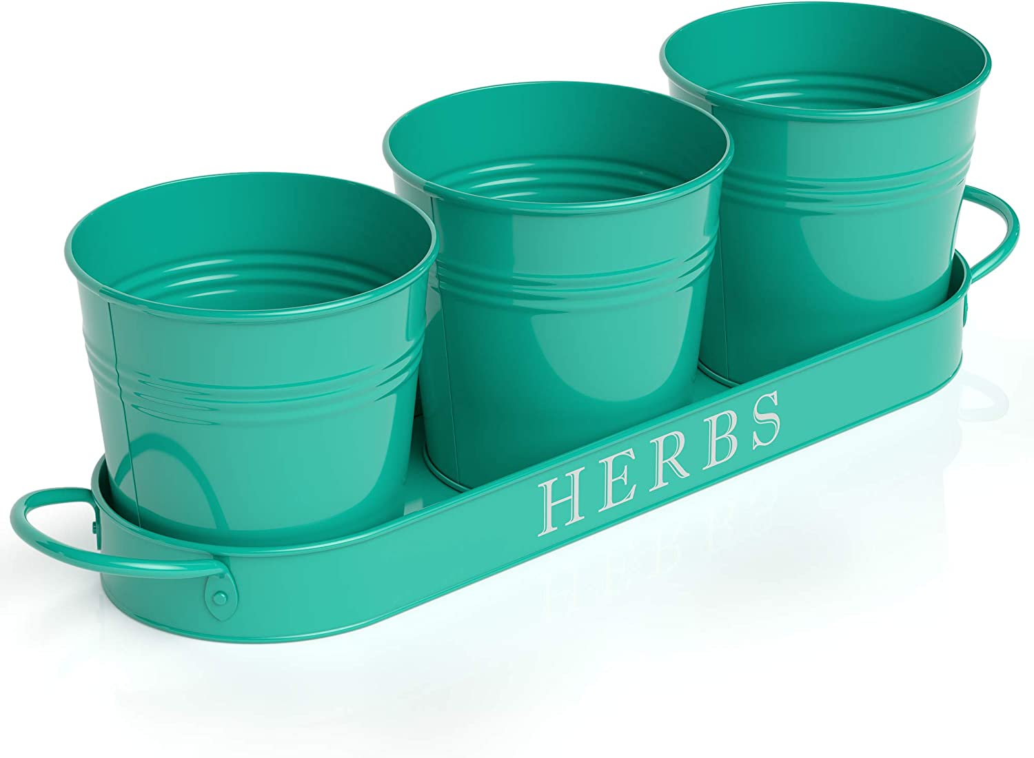 "Barnyard Designs Succulent Herb Pot Planter with Tray for Indoor and Outdoor Use French Cottage Turquoise Metal Herb Plant Holder (Set of 3, 4.25"" x 4"" Planters on 12.5"" x 4"" x 1"" Tray)"