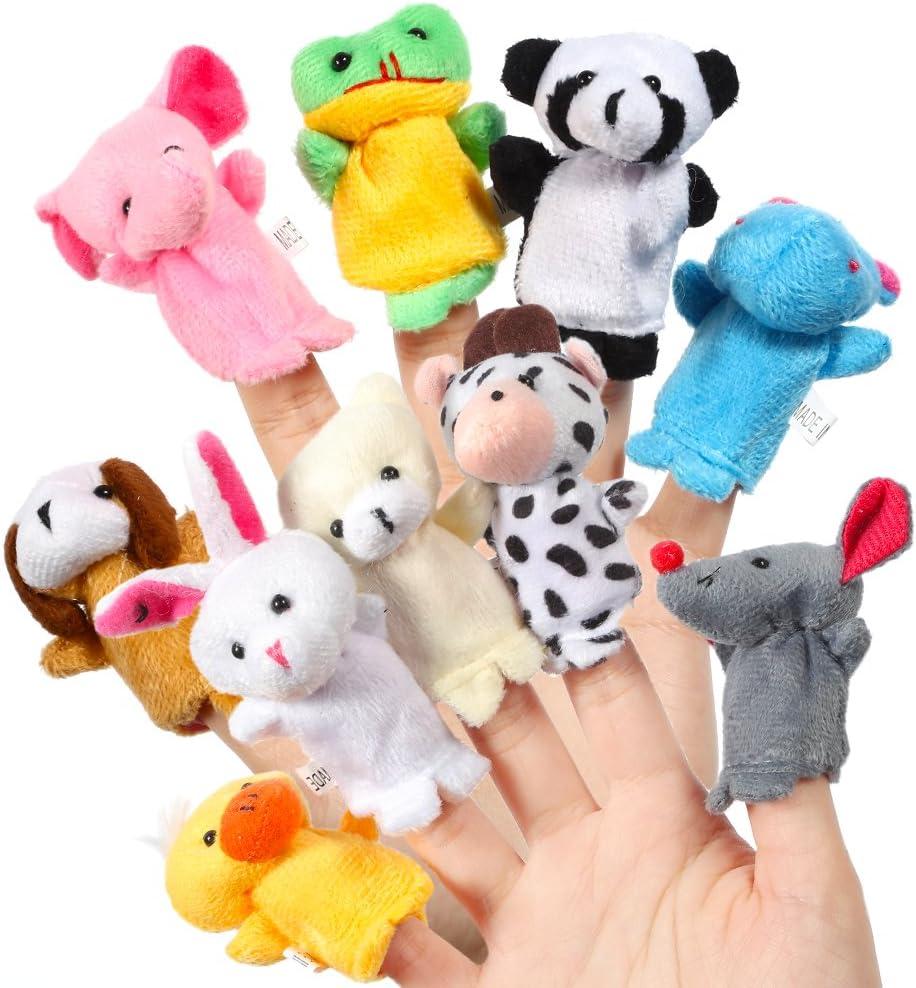 Acekid Marionetas del Dedo del bebé, 10pcs los Animales de Peluche de los niños Marionetas de Mano Conjunto, Terciopelo Tiempo de la Historia de los apoyos muñecas Juguetes para los niños
