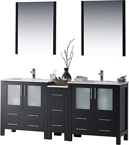 Blossom Sydney 72 inches Double Sink Bathroom Vanity, Side Cabinet, Ceramic Sink with Mirror Solid Wood Espresso 001 72 02 D