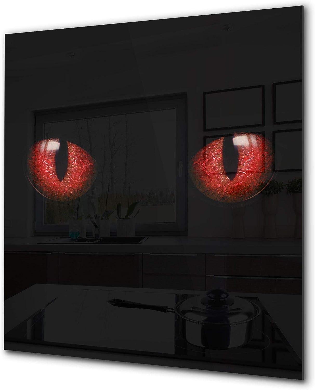 Amazon Com Toughened Glass Backsplash Art Design Printed Splashback Bs21a Animals A Series Red Eyes Cat Home Improvement