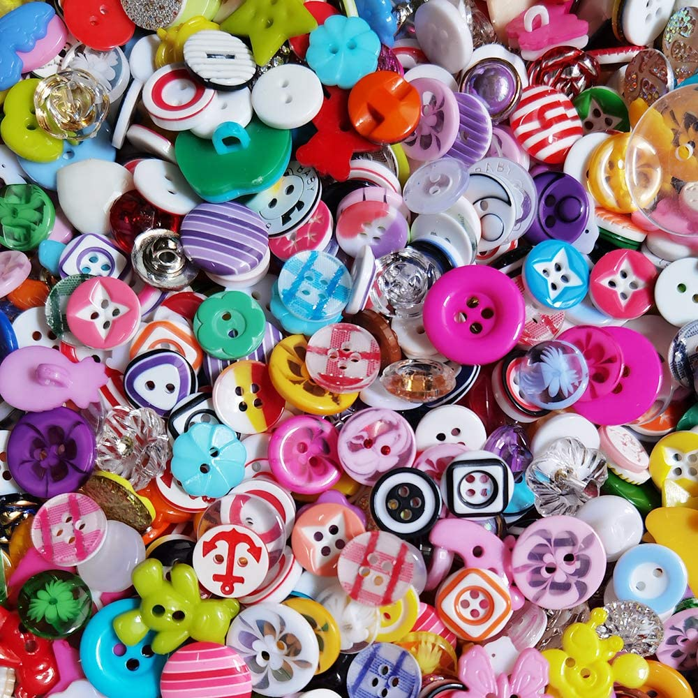 Chenkou Craft Random 100pcs Small Plastic Buttons DIY Sewing Craft Accessory (Mix)