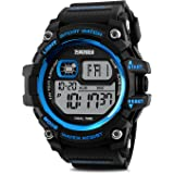 Mens Watches, Outdoor Sport Watches for men Military Waterproof LED Electronic Chronograph Wristwatch Back Light 50M Water Resistant Stopwatch Alarm Week Date Snooze - Blue