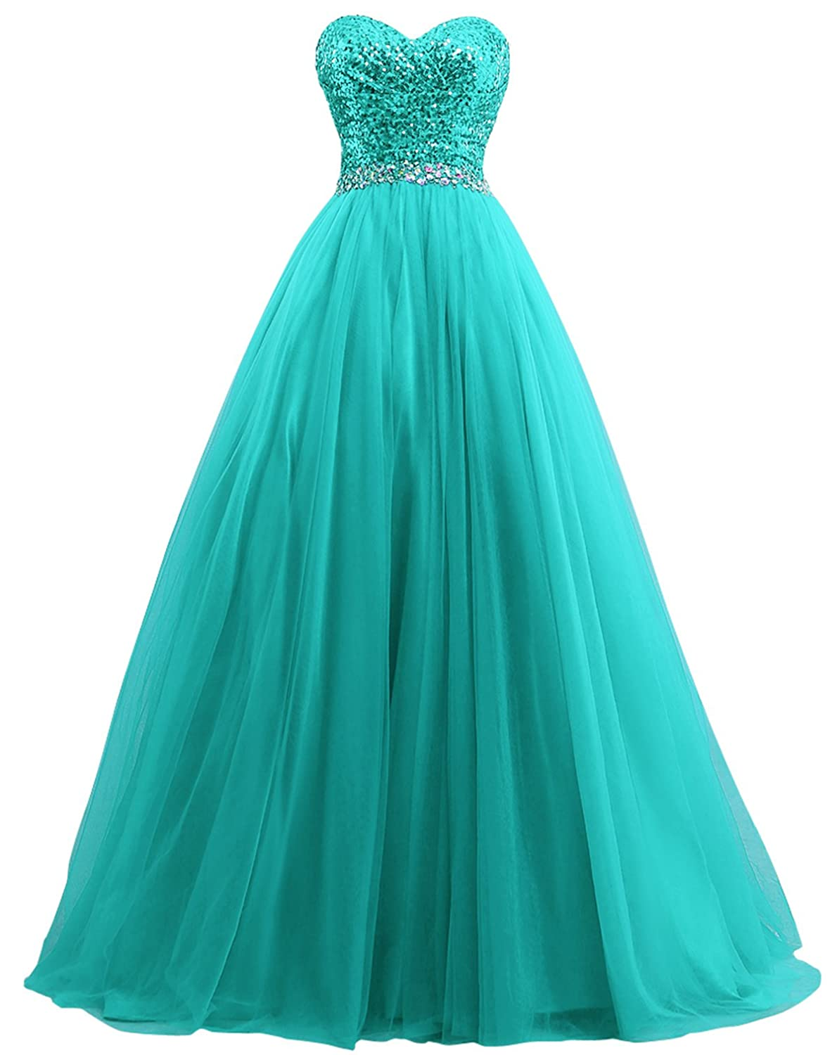 bluee Fanciest Women's Sweet 16 Tulle Sequin Ball Gown Prom Dresses for Quinceanera