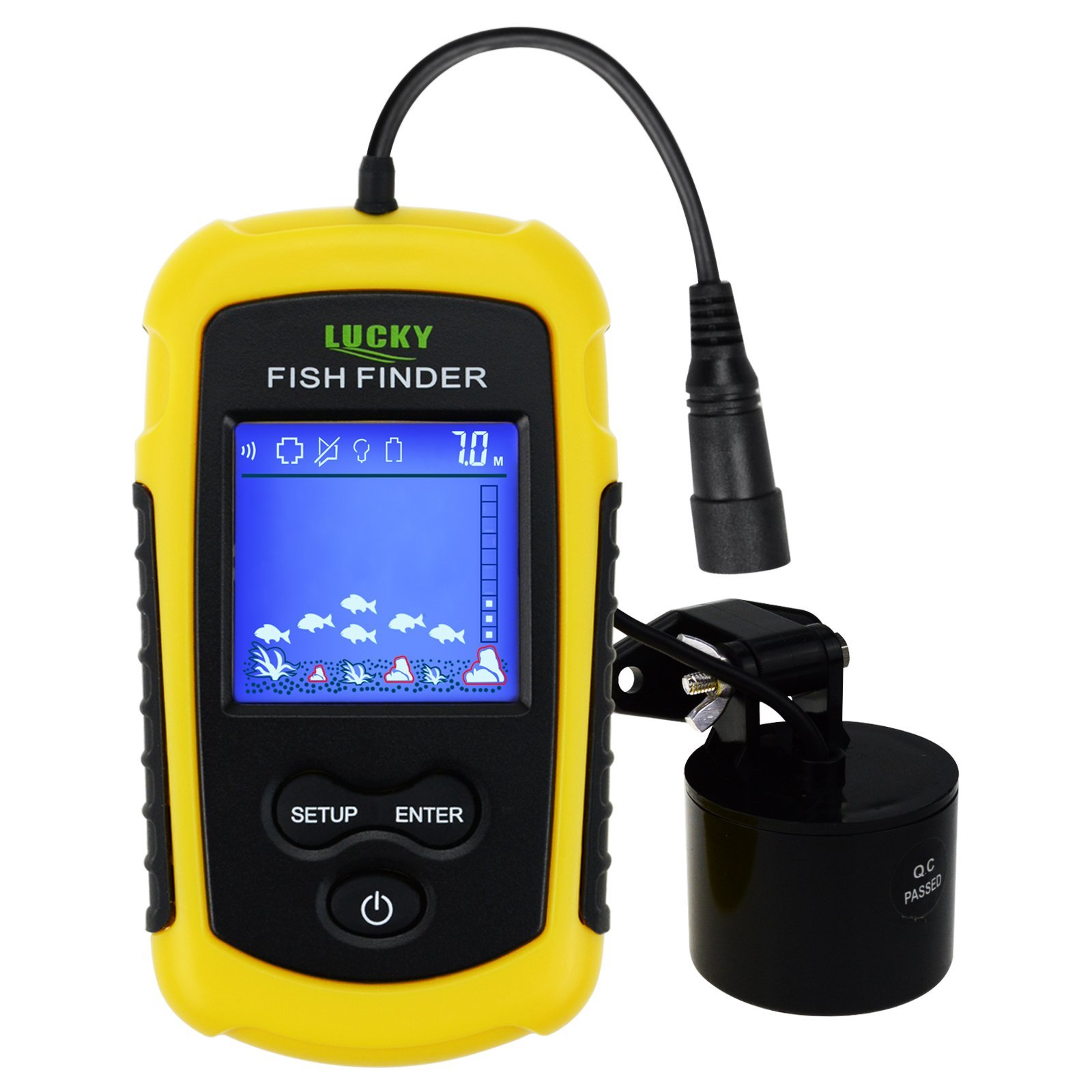 Lucky Portable Fish Finder Sonar, TN/Anti-UV LCD Display LED Backlight for Night Fishing, Wired w/Alarm, 100M (328ft) Depth Detection, Turbid Water, Reservoir, River, Lake, Boat Kayak Ice Fishing by Gain Express
