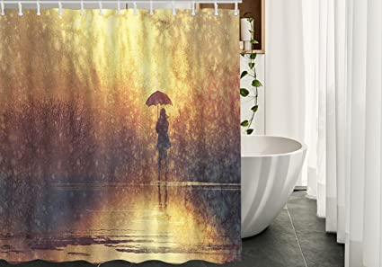 Moslion Rain Shower Curtains DecorSilhouette Of Lonely Girl UmbrellaWaterproof Polyester Fabric Bathroom