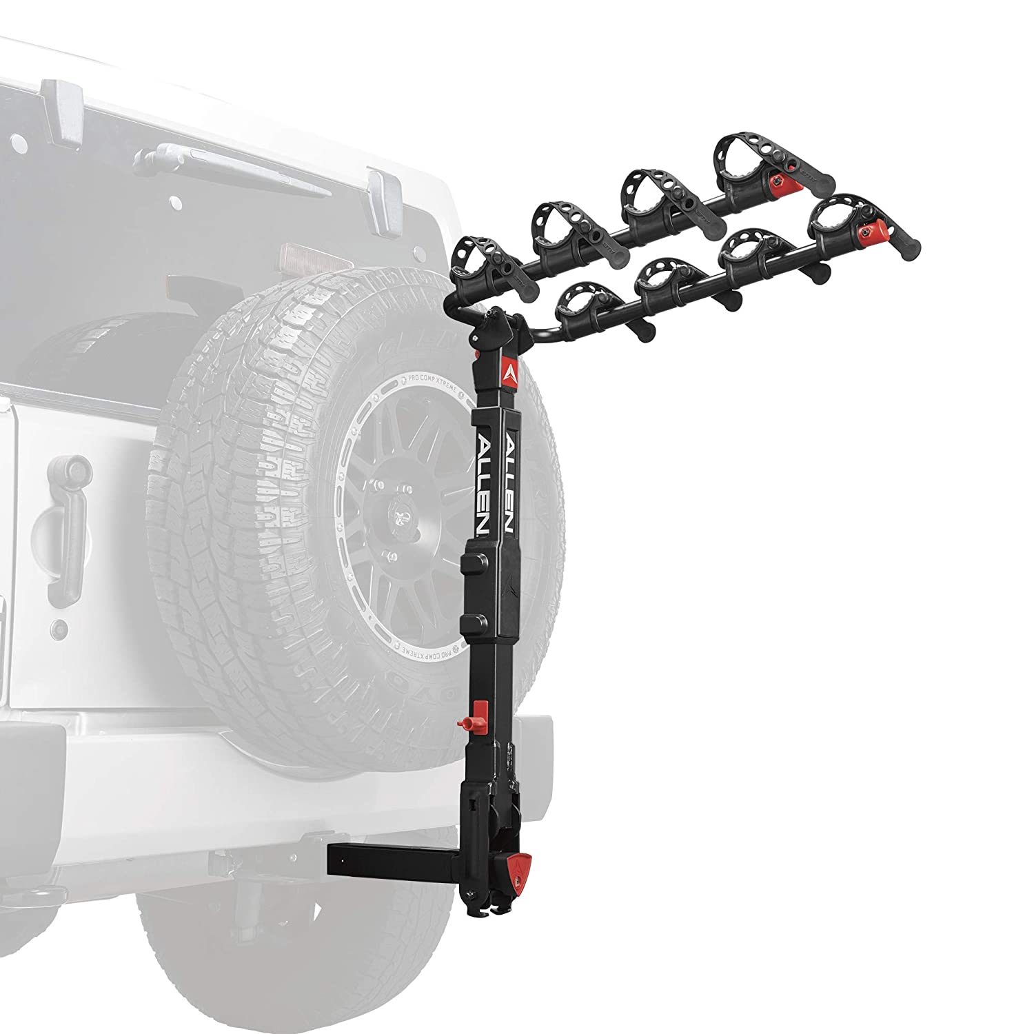 Premier Locking Quick Release 4-Bike Carrier for 2 in Hitch on Vehicles with Spare tire