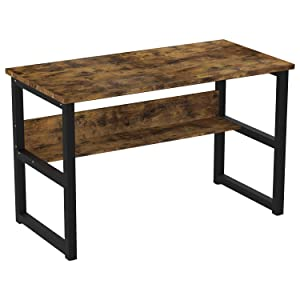 "IRONCK Industrial Computer Desk 47"" with Bookshelf, Office Desk, Writing Desk, Wood and Metal Frame, Industrial Style, Study Table Workstation for Home Office Furniture"