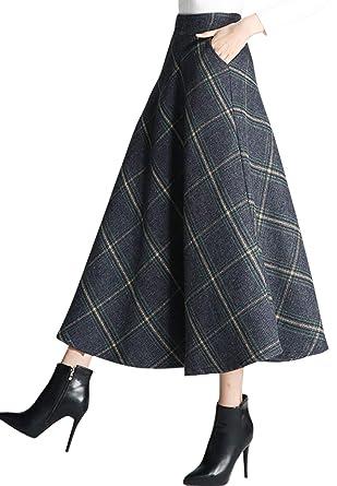19c6c2217c chouyatou Women's High Waist Large-Plaid A-Line Long Wool Blend Skirt Pocket  (