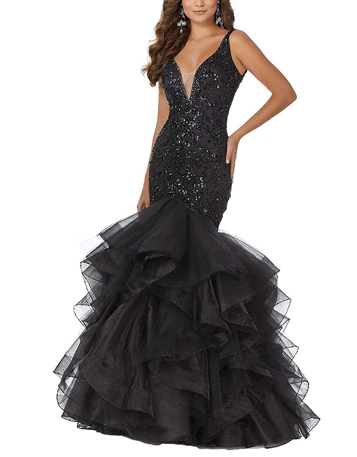 Black PearlBridal Women's Beaded Sequins Mermaid Lace Long Prom Dresses Ruffles Evening Ball Gowns