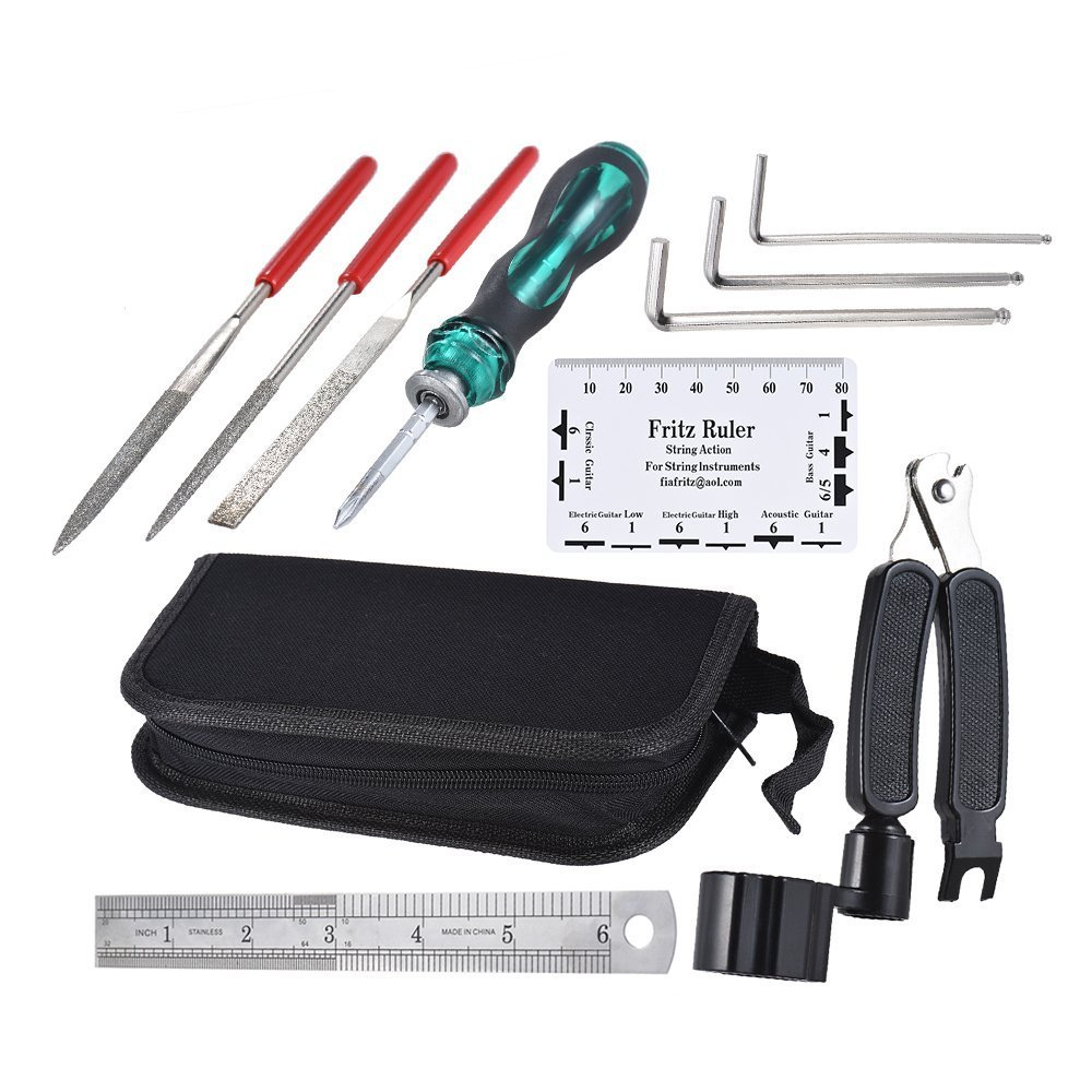 ammoon Guitar Repairing Maintenance Cleaning Tool Kit Includes String Organizer & String Action Ruler & Gauge Measuring Tool & Hex Wrench Set & Files for Guitar Ukulele Bass Mandolin Banjo 4334260486