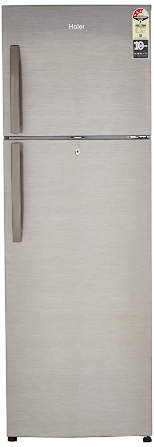 Haier 347 L 3 Star Frost-Free Double-Door Refrigerator (HRF-3674BS-E, Brushline Silver and Dazzel Steel) Refrigerators at amazon