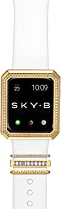 SKYB Deco Halo Apple Watch Case with NYC Watch Band Charms and Silicone Sports Band Set - 18K Yellow Gold Plated with Cubic Zirconia for 42mm Apple Watch Series 1,2,3