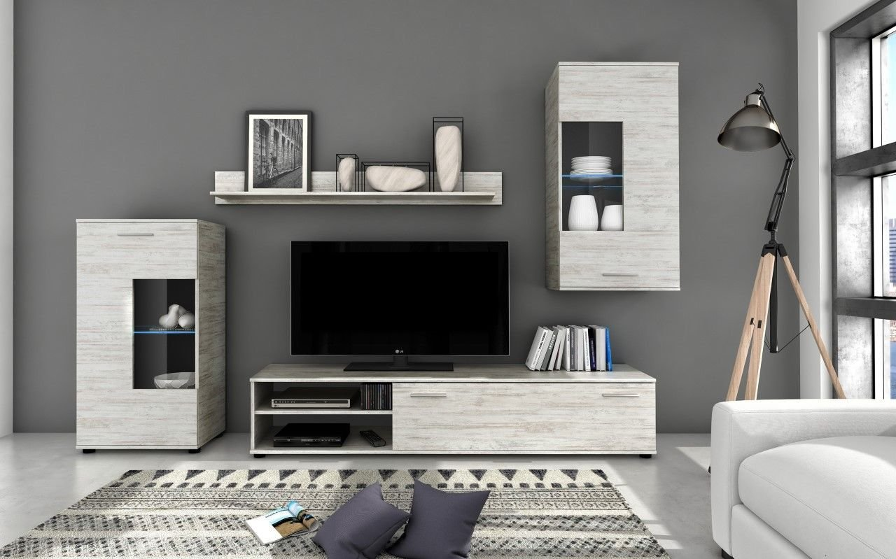 Artisan COOL White Pine And Grey Entertainment Unit, Wood, White/Grey A9 TM FF VA