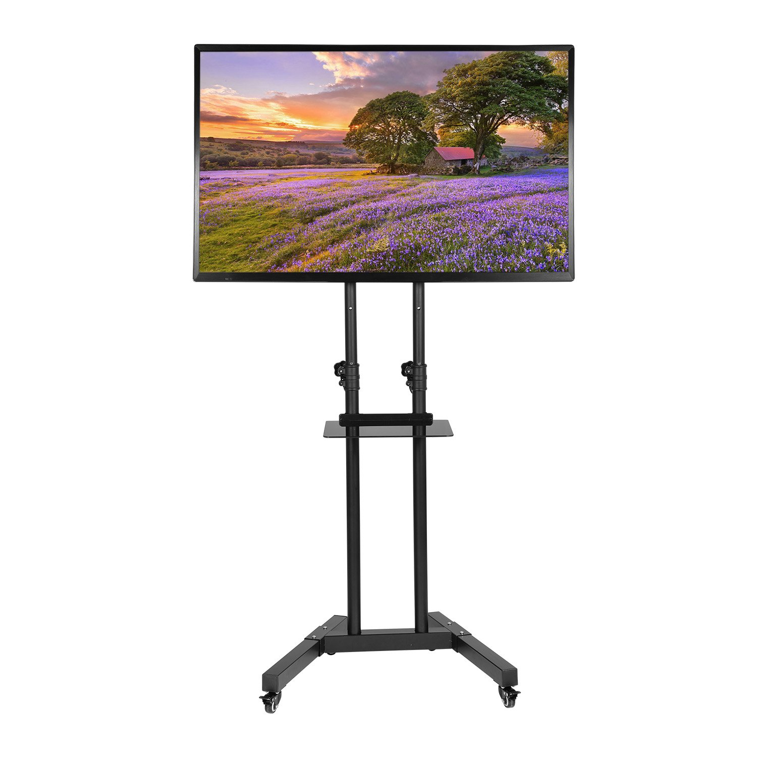 Ollieroo TV Mobile Stand with Mount Height Adjustable for Most 32-65 Inch TVs Flat Panel Screens
