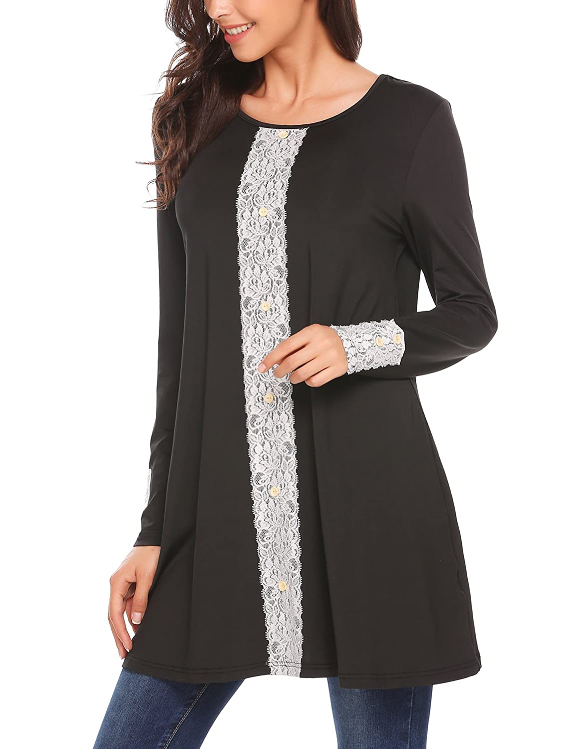 BeautyUU Women Long Flowy Front Lace Long Sleeve Tunic Tops With Button Decor