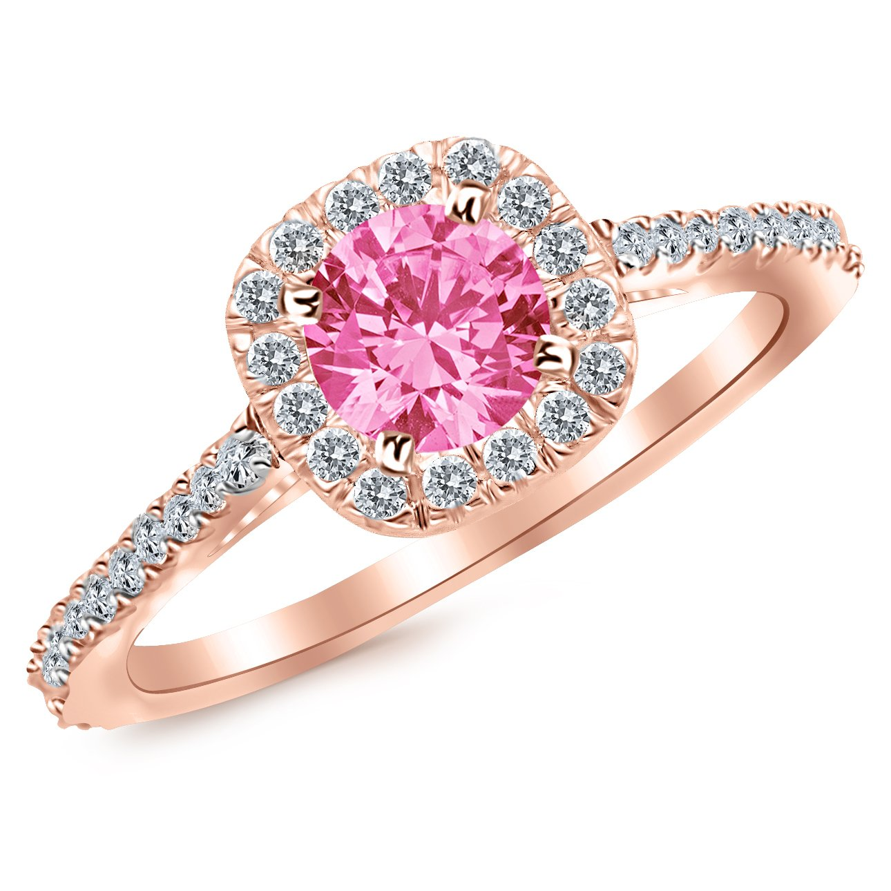 2.35 Carat 14K White Gold Gorgeous Classic Cushion Halo Style Diamond Engagement Ring with a 2 Carat Natural Pink Sapphire Center (Heirloom Quality)