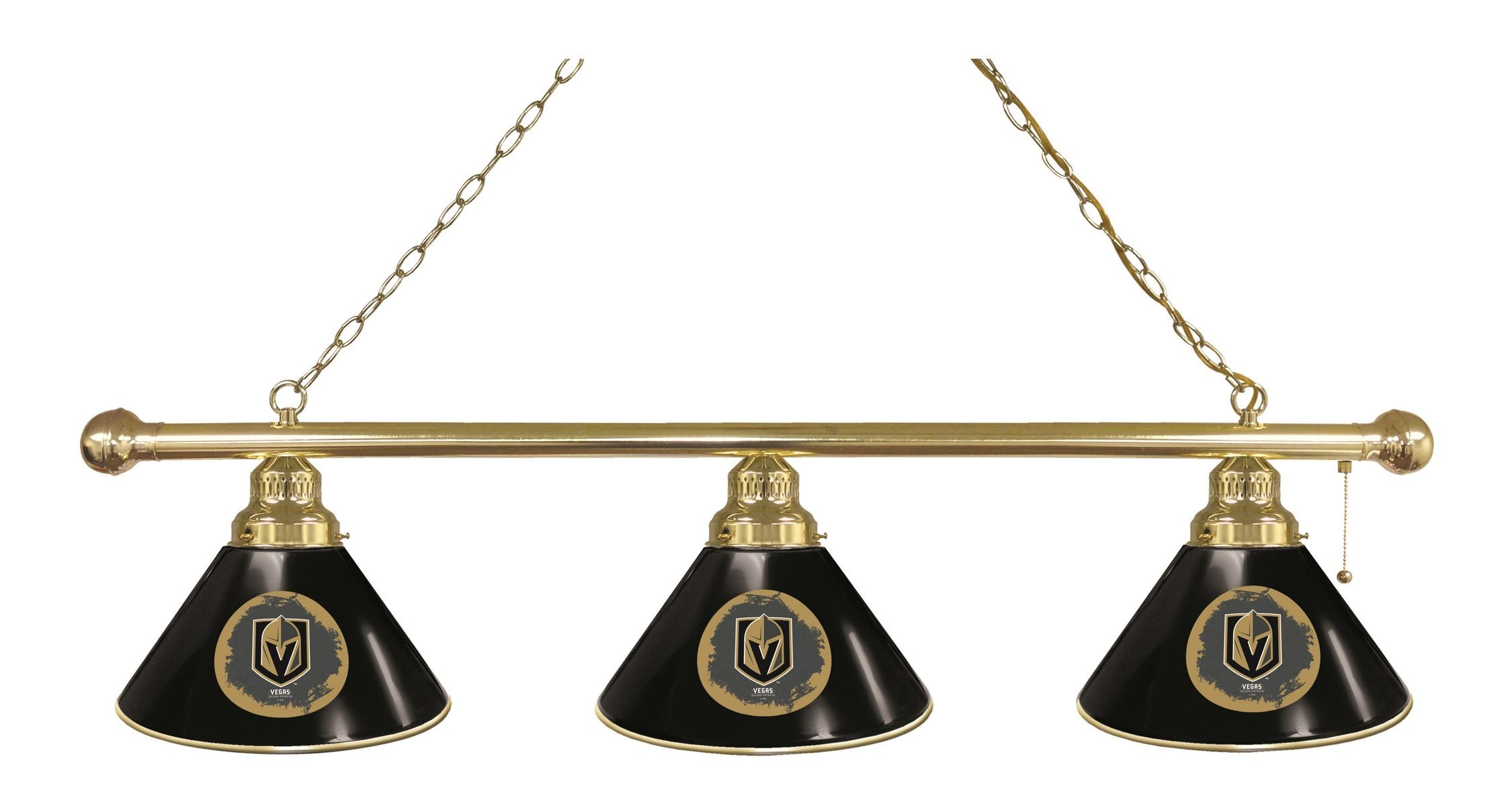 Vegas Golden Knights 3 Shade Brass Billiard Light