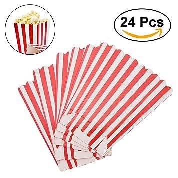 NUOLUX Popcorn Boxes Contenedores Papel Popcorn Bolsas bolsa de palomitas Red Striped Pack de 24 caja palomitas: Amazon.es: Juguetes y juegos