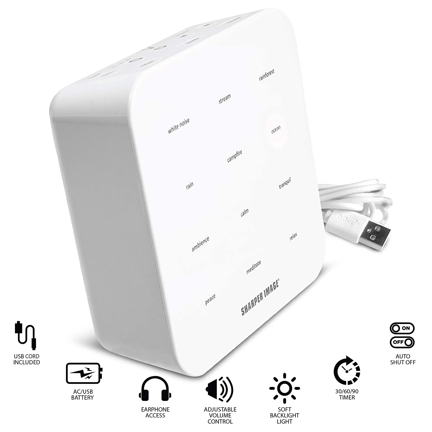 SHARPER IMAGE Ultimate Sleep White Noise Sound Machine for Adults and Baby,  Portable