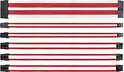 Kabelverl/ängerung f/ür Stromversorgung mit Combs 24 Pin 8PIN 6PIN 4+4 Pin mit Combs-Wei/ß /& Rot EZDIY-FAB Sleeved Cable