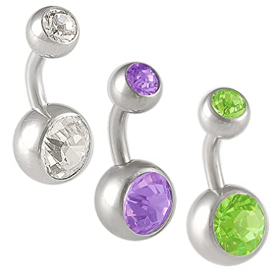 14g 14 gauge 1/4 steel belly rings Navel button bar ball ear Crystal AYAC  Body Piercing Jewelry 3pcs
