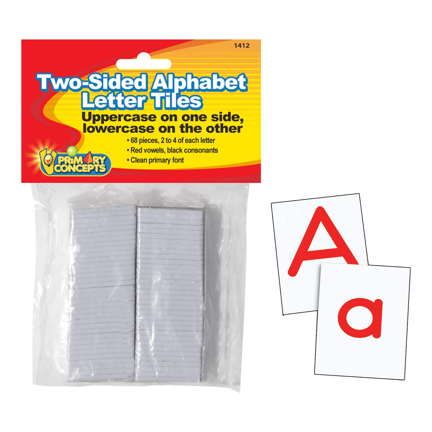 Primary Concepts, Inc PC-1412 Two-Sided Alphabet Letter Tiles Learning kit