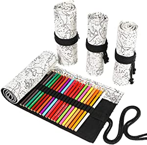 Funny live 24/36/48/72 Slots Colored Pencil Wrap Roll up Pen Holder Case Drawing Coloring Pencil Roll Organizer Stationery Case for Student Artist Traveler (Abstract Lines, 48 Slots)