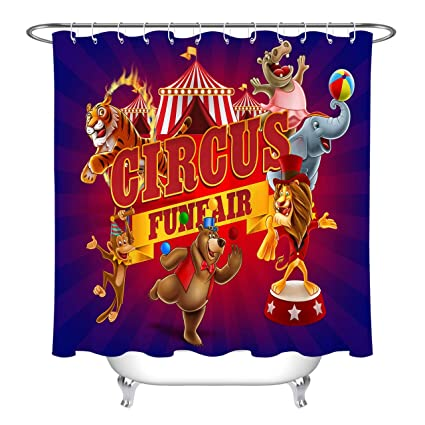 LB Circus Shower CurtainFunny Funfair Animals Performance Holiday Theme Curtains For Bathroom